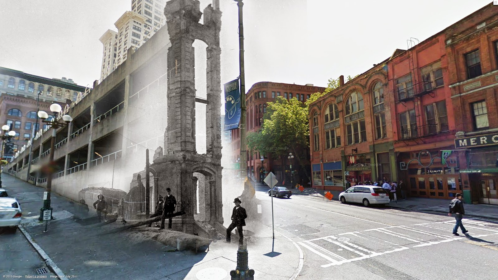 """""""The Occidental Hotel was a gorgeous building that stood where we find the 'sinking ship' parking garage today near Pioneer Square. The older photo dates from the mid 1880's. The Occidental only stood for only seven years. It was one of the many casualties of the Great Fire of 1889. The sad remnants of the façade and entryway line up pretty well with the parking garage here."""" (Courtesy of Clayton Kauzlaric)"""