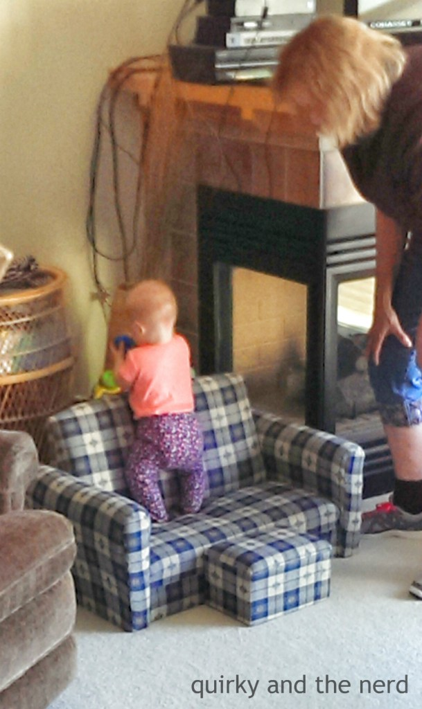 couch climbing baby