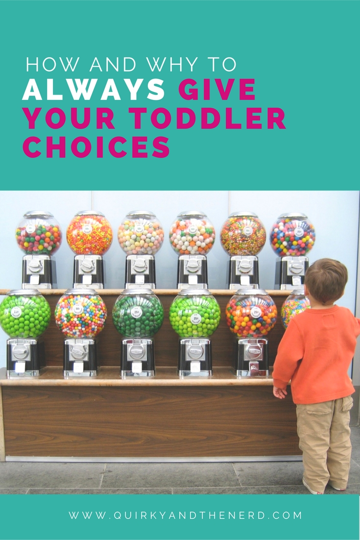 Giving a toddler choices will help give them the (limited) control they need in their lives. But too many parents take it to one extreme or another. Read on for tips and tricks on how to give your toddler choices. quirkyandthenerd.com