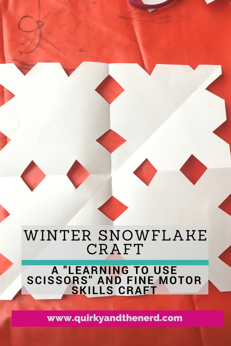 Do you remember making paper snowflakes as a kid? This winter snowflake craft helps children refine their fine motor skills while also providing a fun craft for those snowy days. Even toddlers can make a snowflake! quirkyandthenerd.com