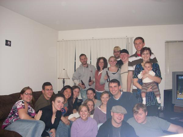 This is a picture of everyone who attended the second annual Second Thanksgiving in my best friend's one-bedroom apartment. While he was in Australia.