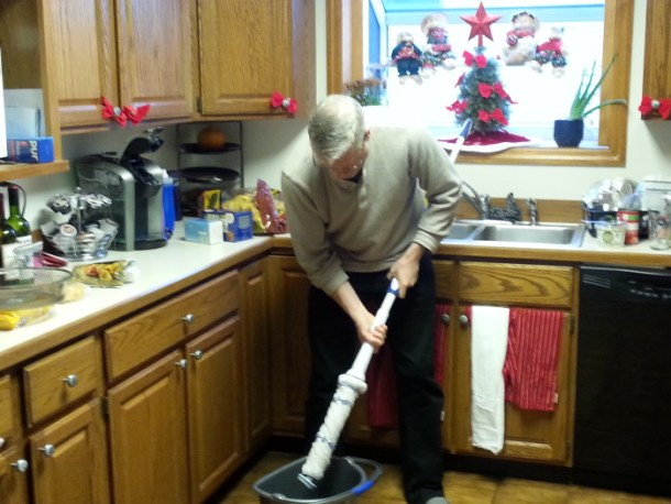 Mopping with Mr. Clean Mop