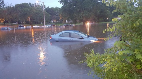 When your car is parked in an unmarked flood zone, you may come home to this unfortunate sight.