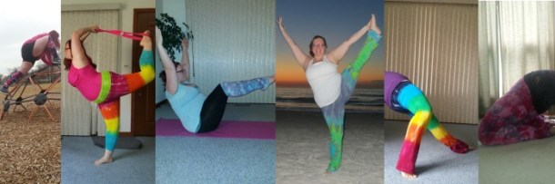 I love the colors and designs of Shining Shakti yoga pants and leg warmers.