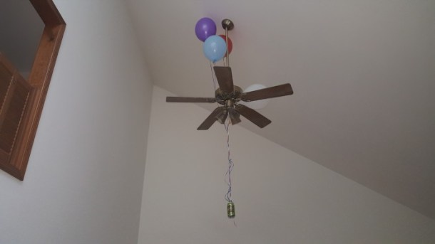 Just hope and pray the balloons don't end up in the updraft of your ceiling fan.