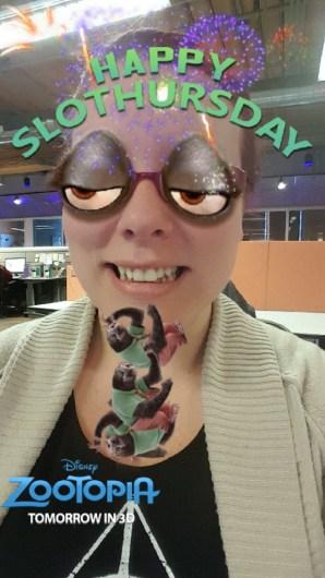 Zootopia Slothursday Snapchat filter
