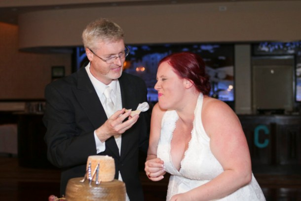 Our cake cutting was hilarious. Because the cake was made of cheese.