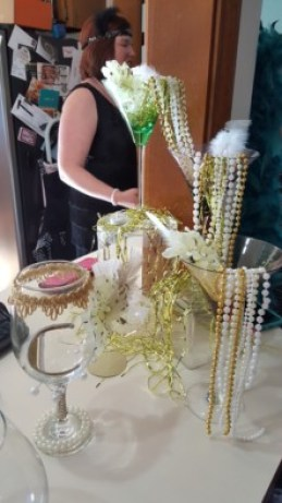 Bead and martini glass waterfall for a 20s themed bachelorette party