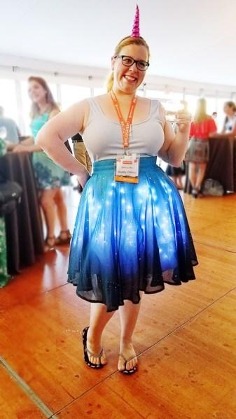 Chrissy modeling a light-up twinkle skirt