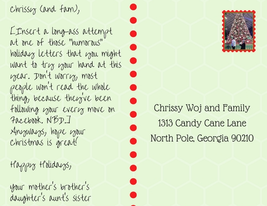 Postcard addressed to Chrissy Woj and family