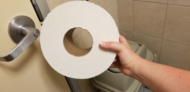 Commercial toilet paper roll in the White Castle Bathroom