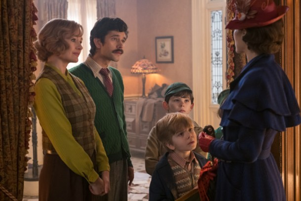 Jane (Emily Mortimer), Michael (Ben Whishaw), John (Nathanael Saleh) and Georgie (Joel Dawson) greet Mary Poppins (Emily Blunt) upon her return to the Banks' home in Disney's original musical MARY POPPINS RETURNS