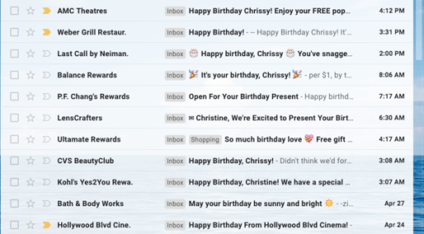a list of restaurants and stores that offer free birthday coupons in your email for signing up.