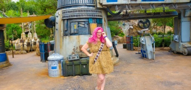 Wearing a Chewbacca dress in Disney World Star Wars Galaxy's Edge