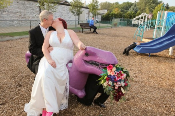 hilarious professional wedding photos  at a playground