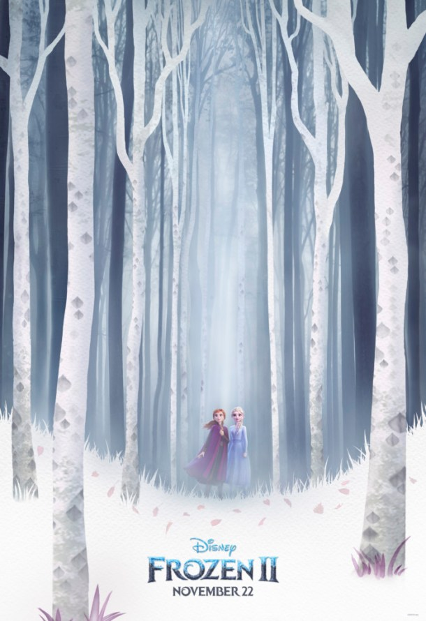 Frozen movie poster with Anna and Elsa in a frozen forest.