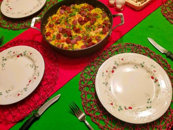 Pfaltzgraff tablescape with Christmas dishes and Kate Spade tablecloths