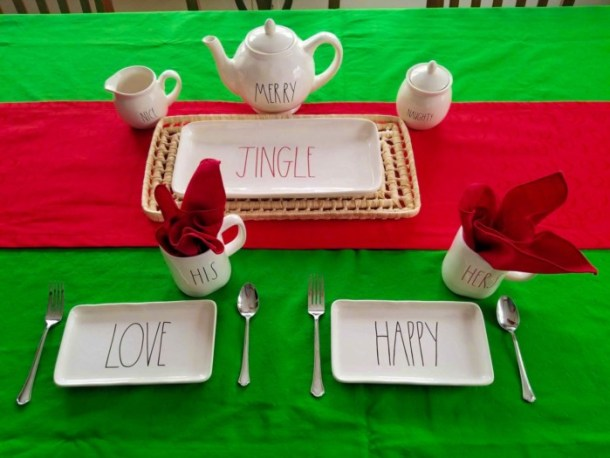 Rae Dunn Christmas tablescape with Kate Spade tablecloths