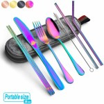 Reusable stainless steel rainbow silverware trave set