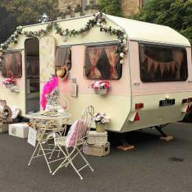 side view vintage caravan photo booth hire