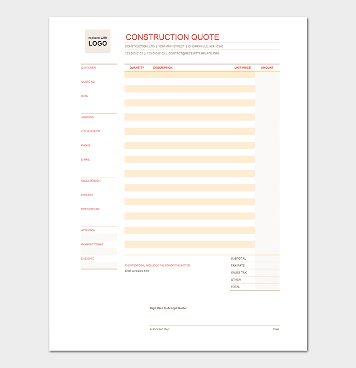 High Quality Construction Quote Template