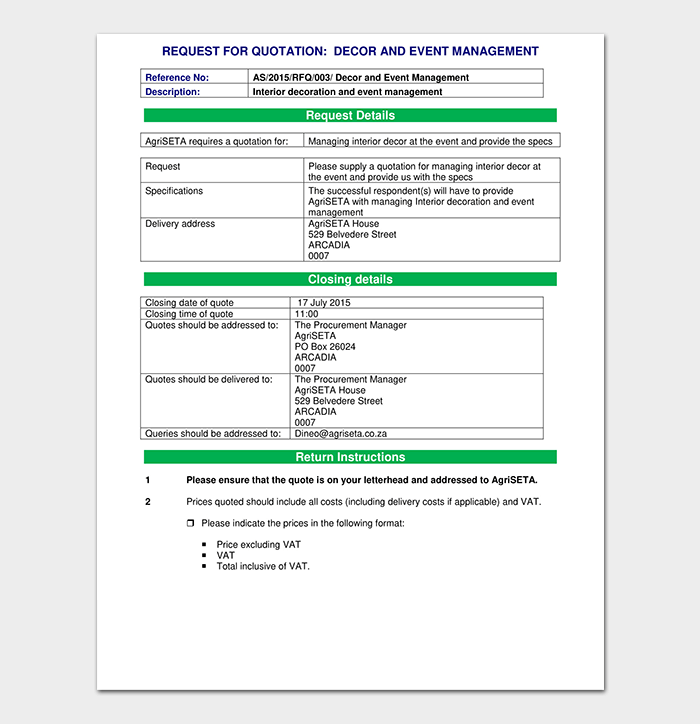 Event Quotation Sample | Event Quotation Template 17 Word Excel Pdf Format