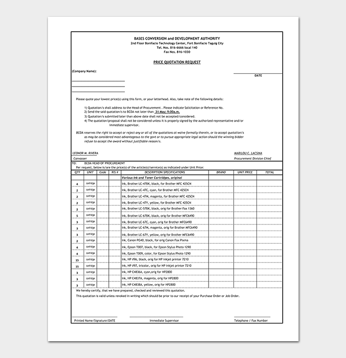 formal quotation template 12 for word excel pdf format