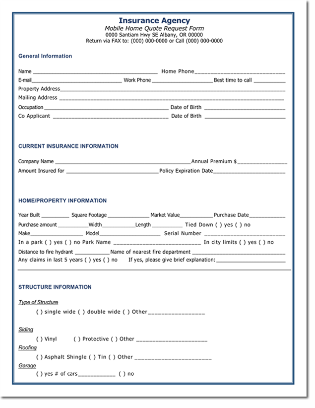 This insurance quote form will collect information regarding the applicant's details, contact info, existing insurance, payroll details and the services they're interested in. Quote Templates Download Free Quotations For Word Excel And Pdf