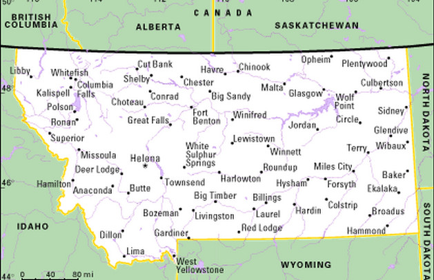 Montana State Map Cities And Towns