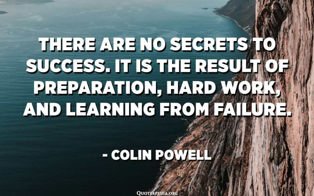 Níl aon rúin ann maidir le rath. Is toradh é ar ullmhúchán, ar obair chrua, agus ar fhoghlaim ó theip. - Colin Powell