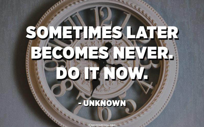 Sometimes later becomes never. Do it now. - Unknown