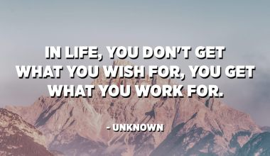 In life, you don't get what you wish for, you get what you work for. - Unknown