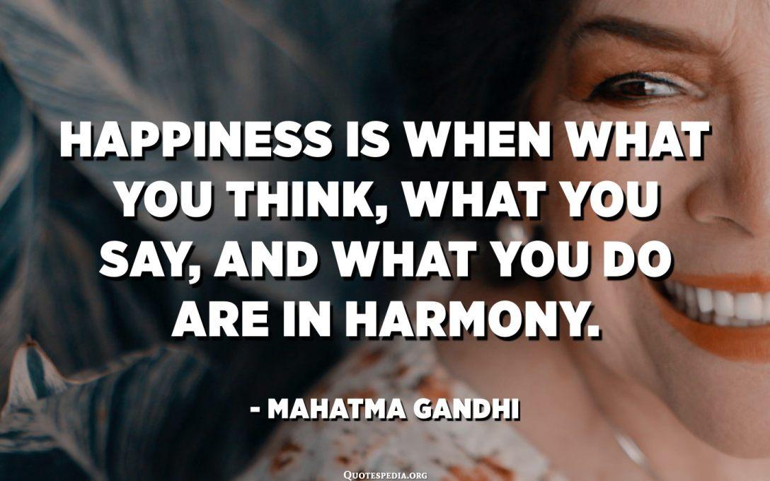 السعادة هي عندما يكون ما تفكر فيه وما تقوله وما تفعله في وئام. - مهاتما غاندي