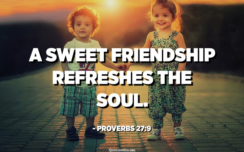 A sweet friendship refreshes the soul. - Proverbs 27:9​​​