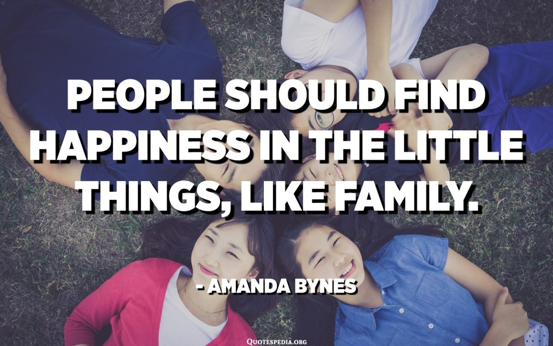 People should find happiness in the little things, like family. - Amanda Bynes