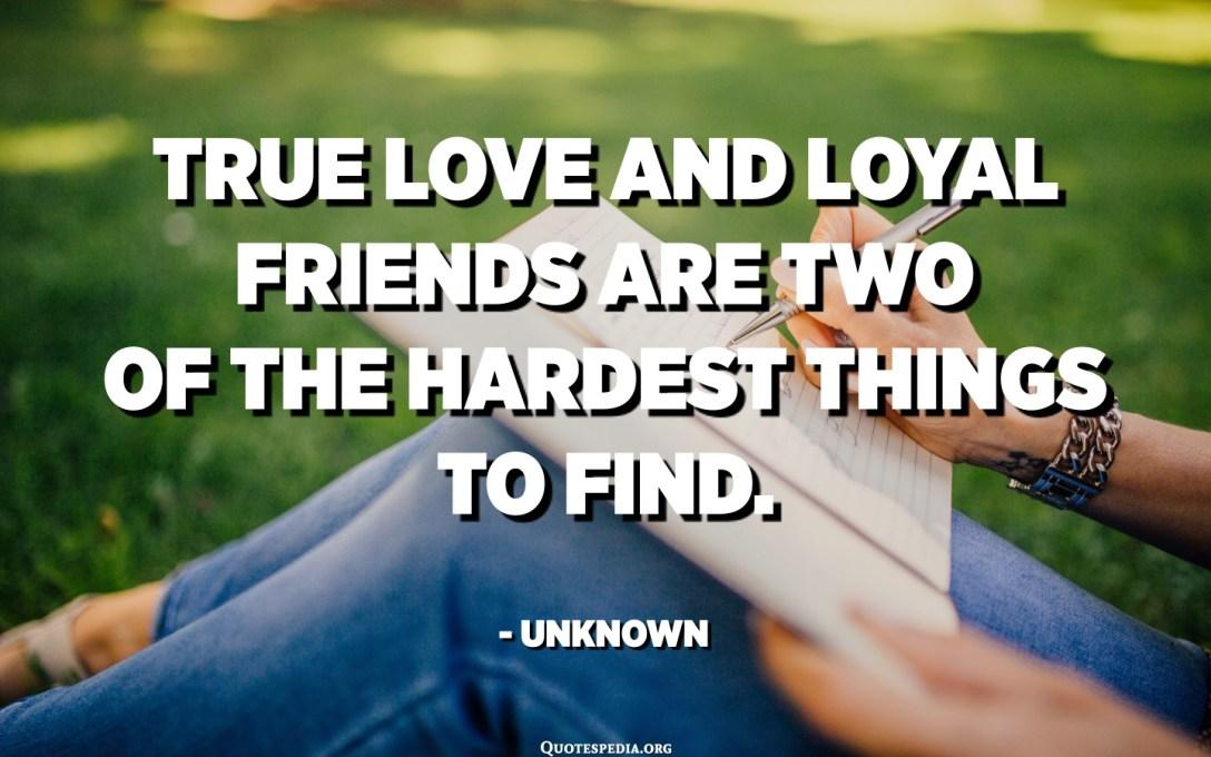 Amor verdadeiro e amigos leais são duas das coisas mais difíceis de encontrar. - Desconhecido