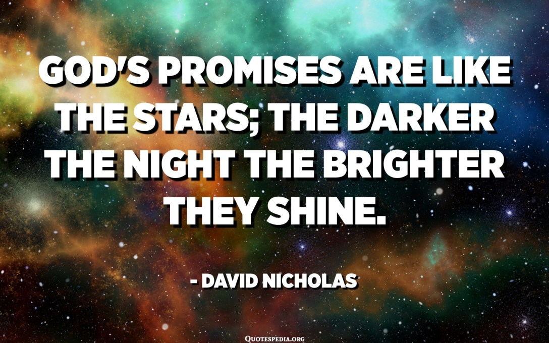 God's promises are like the stars; the darker the night the brighter they shine. - David Nicholas
