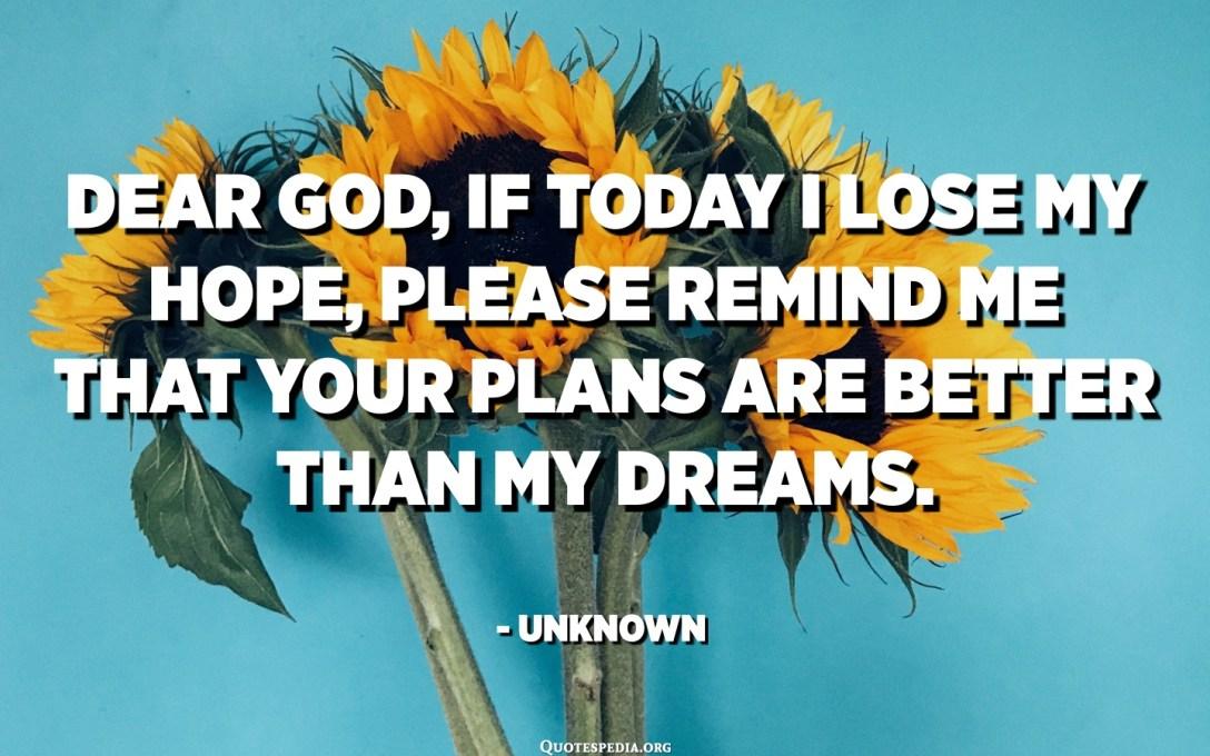 Drahý Bože, ak dnes stratím nádej, pripomeň mi, že tvoje plány sú lepšie ako moje sny. - Neznáme