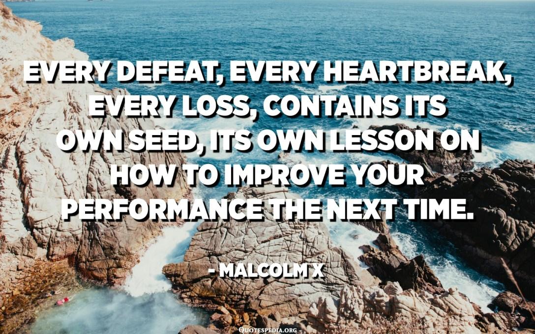 每一次失敗,每一次傷心欲絕,每一次損失,都包含其自己的種子,以及關於如何在下一次提高性能方面的經驗教訓。 -馬爾科姆X