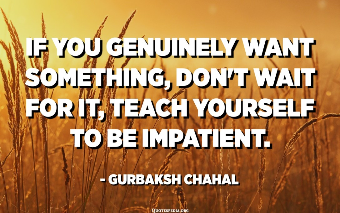 If you genuinely want something, don't wait for it, teach yourself to be impatient. - Gurbaksh Chahal