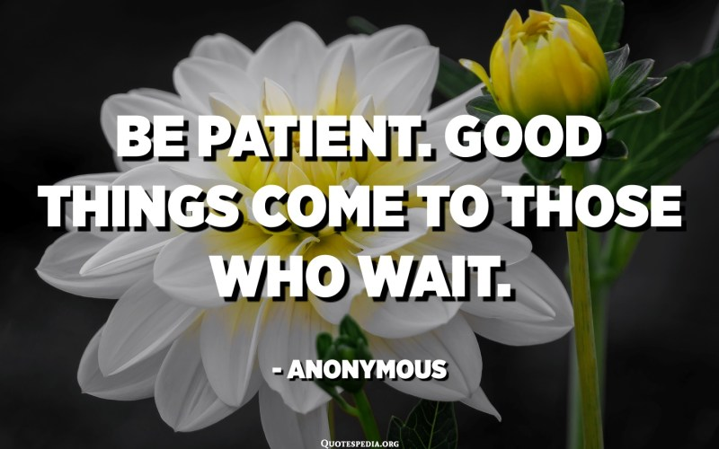 Be patient. Good things come to those who wait. - Anonymous