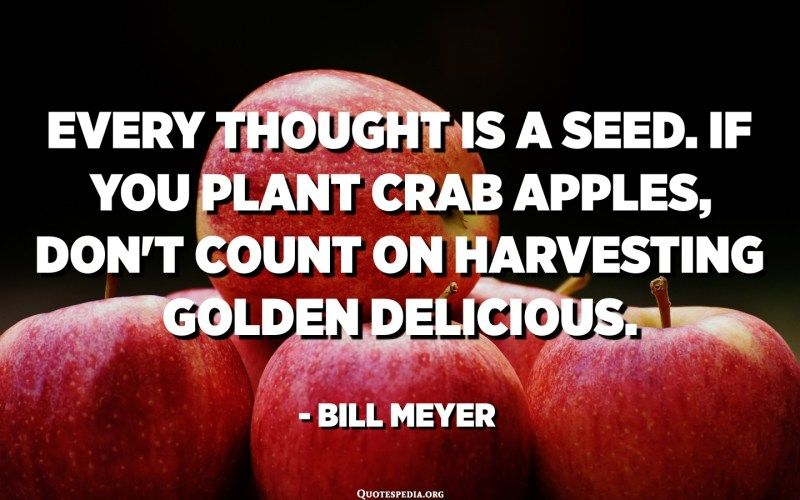 Every thought is a seed. If you plant crab apples, don't count on harvesting Golden Delicious. - Bill Meyer