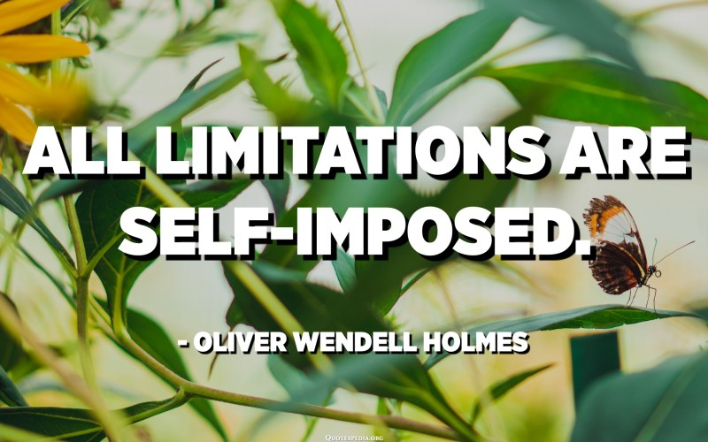 All limitations are self-imposed. - Oliver Wendell Holmes