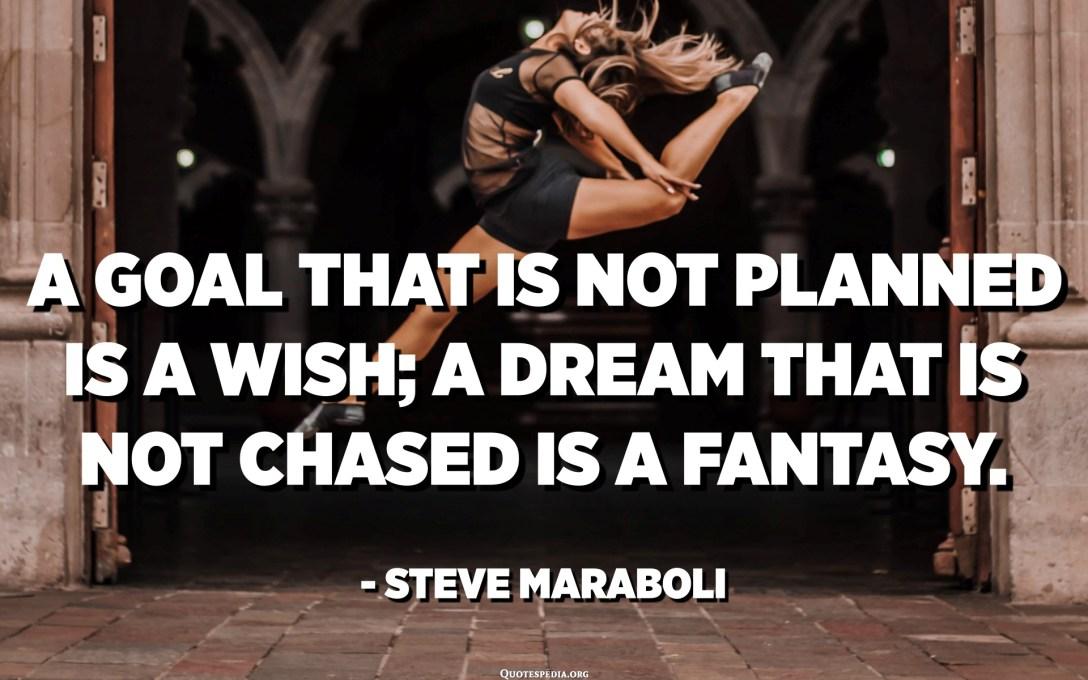 الهدف غير المخطط هو أمنية ؛ الحلم الذي لا يلاحقه هو خيال. - ستيف مارابولي