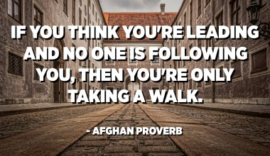 If you think you're leading and no one is following you, then you're only taking a walk. - Afghan Proverb