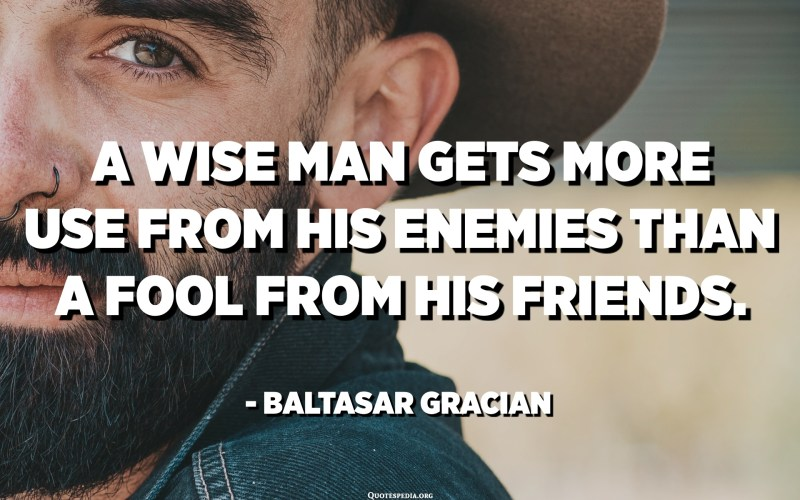 A wise man gets more use from his enemies than a fool from his friends. - Baltasar Gracian