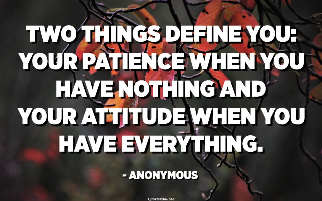 Two things define you: Your patience when you have nothing and your attitude when you have everything. - Anonymous