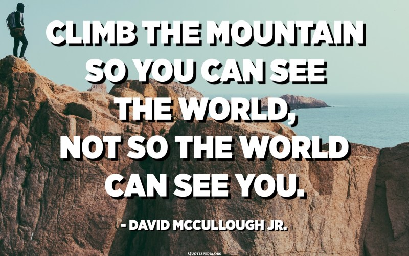 Climb the mountain so you can see the world, not so the world can see you. - David McCullough Jr.