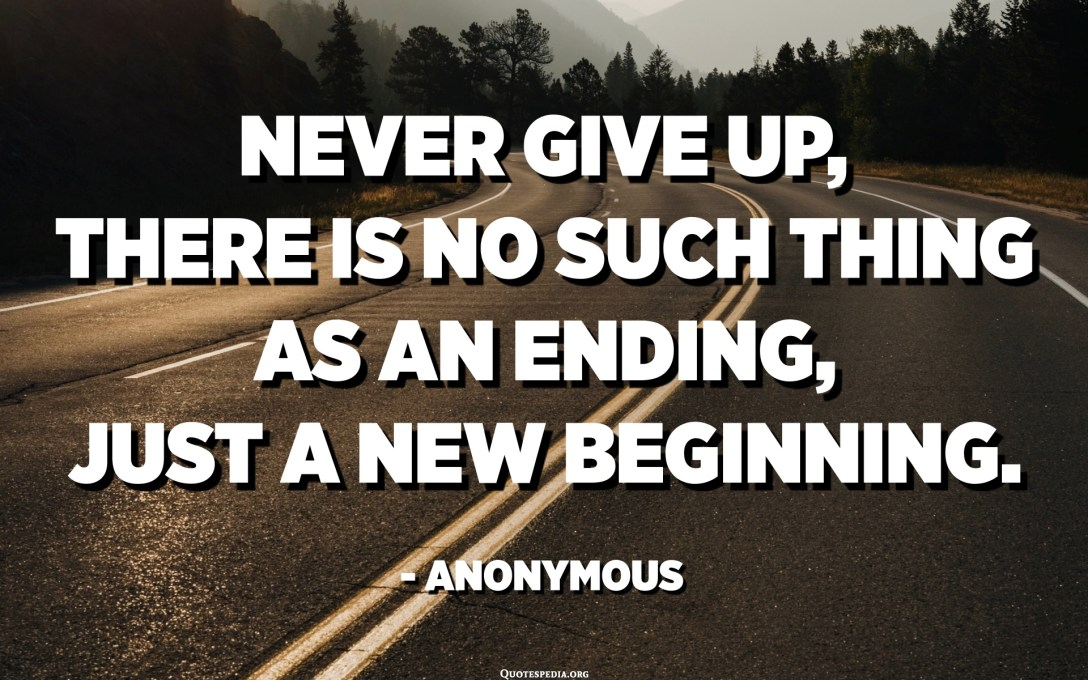Never give up, there is no such thing as an ending, just a new beginning. - Anonymous