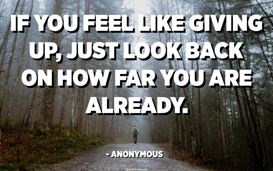 If you feel like giving up, just look back on how far you are already. - Anonymous